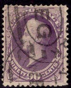 US Stamp #218 90c Purple Perry USED SCV $225.