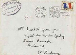 France Franchise Militaire Flag Military Stamp 1972 67 Hagenau, Bas-Rhin to S...