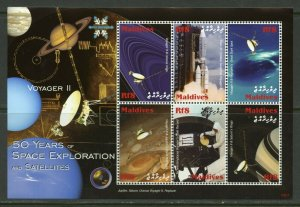 MALDIVES 50 YEARS OF SPACE EXPLORATION & SATELLITES VOYAGER II  SHEET MINT