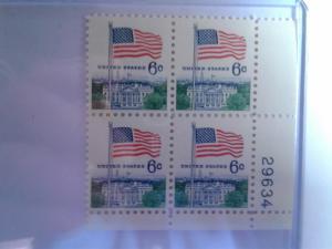 SCOTT # 1338 6 CENT PLATE BLOCK FLAG ISSUE GEM  !!  1968
