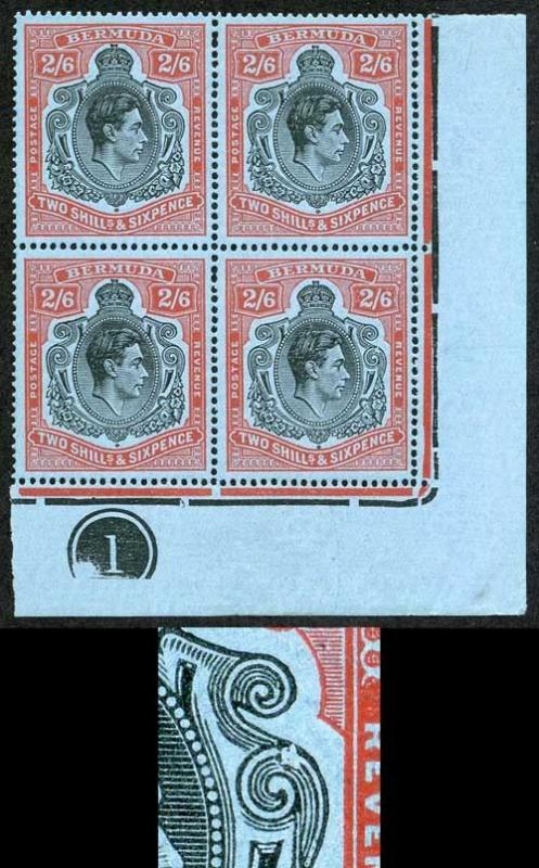 Bermuda SG117b/be 2/6 Black and Red/pale Blue VARIETY BROKEN LOWER RIGHT SCROLL