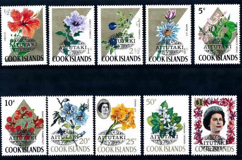 [61975] Cook Islands Aitutaki 1972 Flora Flowers Blumen Fleur With Overprint MNH