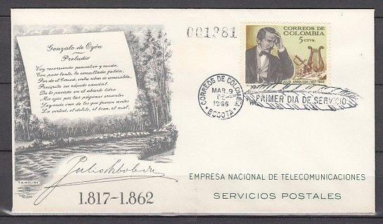 Colombia, Scott cat. 754. Writer & Statesman issue on a First day cover.