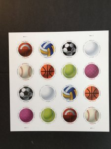 2017 Sheet of Round Forever stamps - Sports Balls Sc# 5203-10