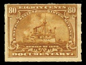 B356 U.S. Revenue Scott R172 80c Battleship mint hinged, large part OG CV = $125