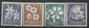 SPANISH ANDORRA 58-61, MNH STAMP, FLOWERS