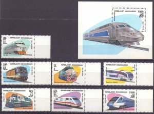 Madagascar. 1993. 1562-68, bl238. The trains. MNH.