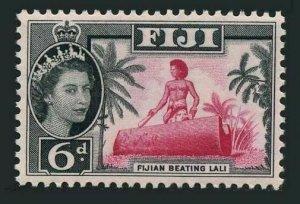 Fiji 168,hinged.Michel 146. Queen Elizabeth II,Fijian beating drum lali,1961.