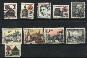 Czechoslovakia 619, 1733, 1735, 1736A, 1739, 1350, 1352, 1353, 2444, +1 used  PD