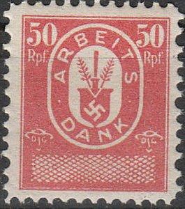 Stamp Germany Revenue WW2 Fascism War War Party Worker Vacation 005 MNH