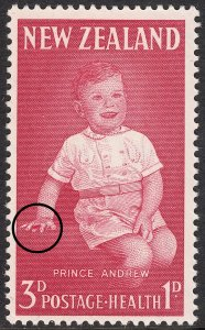 New Zealand 1963 3d+1d Health Stamp Bloodstained Finger Variety MUH