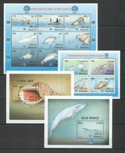 QQ328 1998 MALDIVES FISH & MARINE LIFE FAUNA YEAR OF THE OCEAN 2KB+2BL MNH