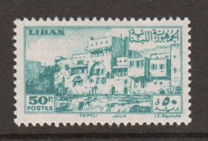 Lebanon Sc 208 MLH. 1947 50p Crusader Castle, VLH & VF