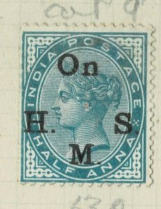 india 1874-82 - ON.H.M.S OVERPRINT - QV 1/2AS BLUE GREEN  SG NO 039 MM