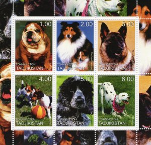 Tajikistan 2000 - DOGS - MAMALS - FAUNA Sheetlet (6) MNH
