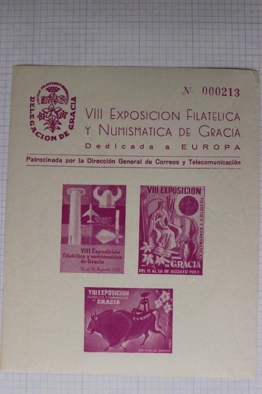 Philatelic Numismatic Souvenir sheet 1957 Gracia Spain delegation expo poster DM