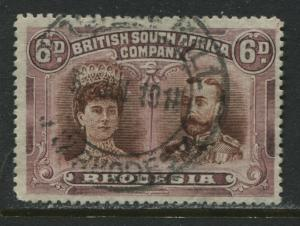 Rhodesia 1910 6d Double Heads perf 15 used
