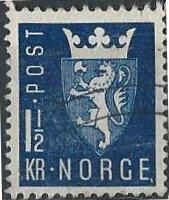 Norway 268 (used) 1½k new national arms, dk blue (1945)
