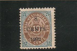 Danish West Indies  Scott#  25  MH  (1902 Surcharge)