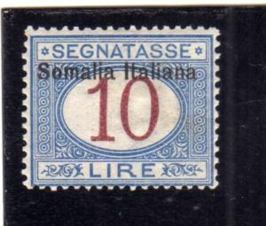 SOMALIA 1909 SEGNATASSE POSTAGE DUE TASSE TAXE SOPRASTAMPA IN ALTO LIRE 10 MN...