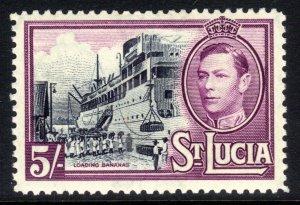 St Lucia 1938 - 48 KGV1 5/-d Lady Hawkins Loading Bannanas MM SG 137 ( T649 )