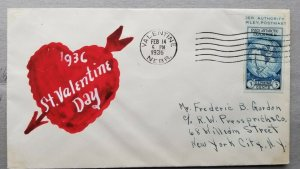 VALENTINE Sc# 735a on Hand Painted Cover from Valentine Nebraska to New York, NY