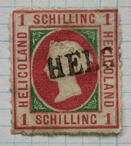 Heligoland sc#6a rose used 1/ 1sh one schilling shilling cv$1,000.00 faulty thin