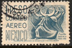 MEXICO C195, $1P 1950 Definitive wmk 279 Used. F-VF. (946)