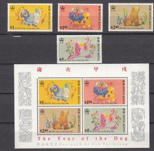 Z3906 1994 hong kong set + s/s mh #689-92a year of dog