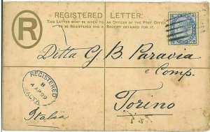 01315 - MALTA - POSTAL HISTORY - REGISTERED COVER TO ITALY 1899