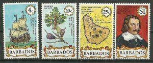 1975 Barbados 428-31 First Settlement 350th Ann. C/S MNH