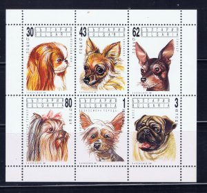 Bulgaria 3640a MNH 1991 Dogs sheet of 6