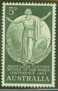 Australia Scott 347 MH* 1962 Woman Globe stamp