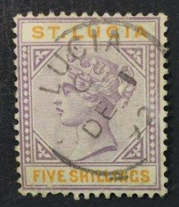 MOMEN: ST LUCIA SG #51 1891-8 USED LOT #61217