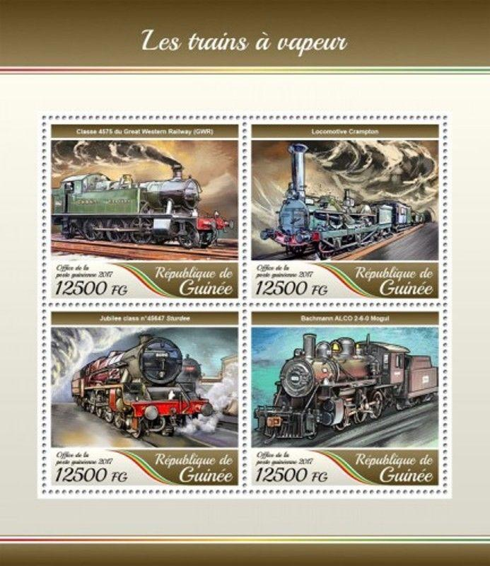 Guinea - 2017 Steam Trains - 4 Stamp Sheet - GU17405a
