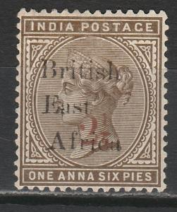 BRITISH EAST AFRICA 1895 QV INDIA 21/2 SURCHARGED ON 1A6P