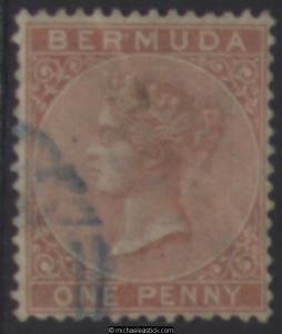 1865 Bermuda 1d Pale Rose, SG 2, Used