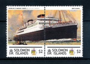 [90558] Solomon Islands  Ships Britannic Ocean Liners White Star Line Pair MNH