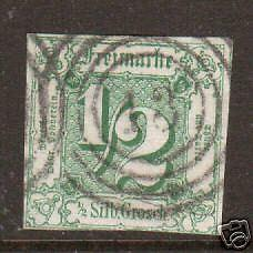 Thurn & Taxis Sc 9 used. 1859 ½s w/13 in Target Cancel