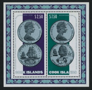 Cook Islands 407a MNH Coins on Stamp, Cook, Ship