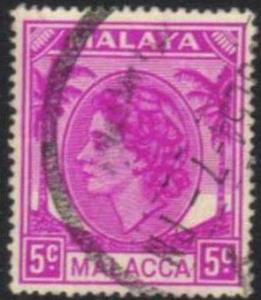 Malacca / Malaya - 1954 QEII 5c Used SG 26