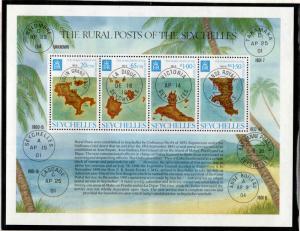 Seychelles Scott 342a  MNH** Rural posts maps souvenir sheet