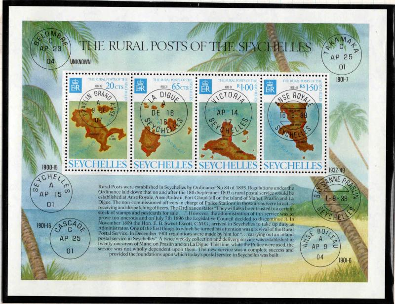 Seychelles Scott 342a  MNH** Rural posts maps souvenir sheet