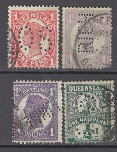 COLLECTION LOT OF #988 AUSTRALIAN STATES QUEENSLAND 4 STAMPS 1897+ PERFIN