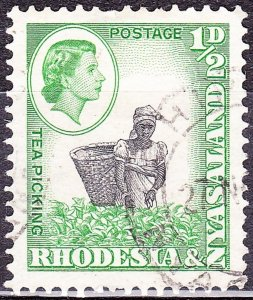 RHODESIA & NYASALAND 1959 QEII 1/2d Black & Light Emerald SG18 FU