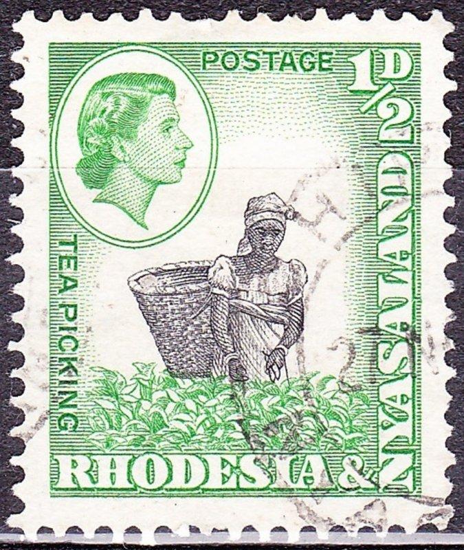 RHODESIA & NYASALAND 1959 QEII 1/2d Black & Light Emerald SG18 FU
