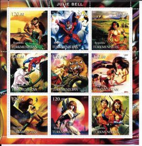 Fantasy  Art by Julie Bell Comic Book Heros -9 Stamp Sheet 20D-108
