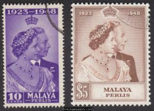 1948 Malaya Perlis Royal Silver Wedding, set of 2, SG 1-2, used