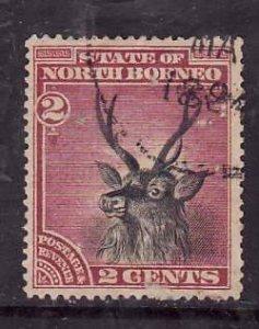 North Borneo-Sc#60-used 2c rose & black-1894-