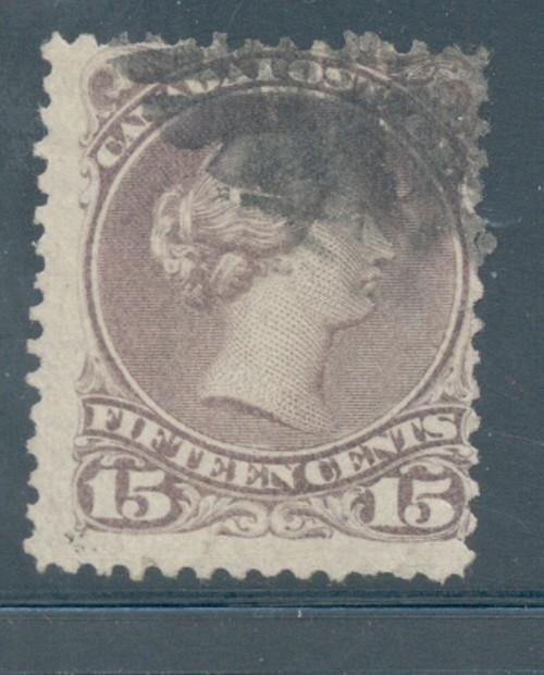 Canada Sc 29 15c gray violet large Victoria stamp used